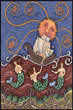 Mermaid Love Folk Art Print from an ORIGINAL Oil Painting by Dee Sprague