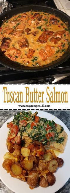 Loved the taste of the sauce and the addition of tomatoes and spinach was perfect. I served this dish over some rice. Tuscan Salmon Recipe, Salmon Recipes, Seafood Recipes, Cooking Recipes, Healthy Recipes, Rice Recipes, Easy Recipes, Keto Recipes, Seafood Meals