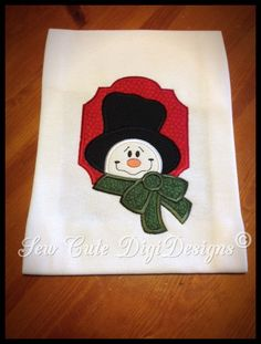 Adorable Snowman applique design within a by SewCuteDigiDesigns