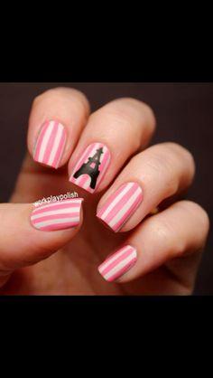 Paris nail art in pink