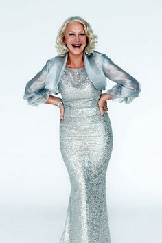 Helen Mirren for Woman Home Magazine, June 2012, dress from Jacques Azagury