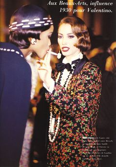 """L'Officiel France March, 1992 """"Ambiance Couture"""" Christy Turlington & Naomi Campbell backstage for Valentino Runway Show.."""