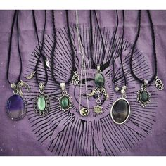 silver necklaces with stones & gems. boho & witchy fashion.