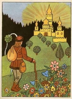 Josef Lada – Illustration for the book Pohadky (by K. Pattern Illustration, Children's Book Illustration, Contemporary Decorative Art, Naive Art, Summer Pictures, Good Thoughts, Flower Art, Illustrators, Folk Art