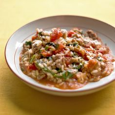 Tomato and Sausage Risotto- substitutes: veggie sausage and used handful of basil instead of spinach.  Added a clove of garlic.  no butter or white wine.  Parm just sprinkled on top.