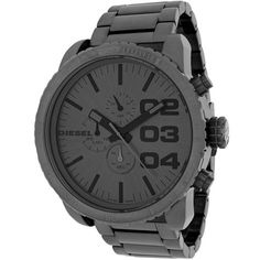 c092cf8878e8 Diesel Men s DZ4215  Double Down  Grey Chronograph Stainless Steel Watch  (Gunmetal Dial)
