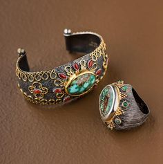 Oxidized silver and 24kt gold cuff with Persian turquoise and coral Oxidized silver and 24kt gold ring with Persian turquoise and emeralds #StellaFlame