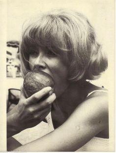 1966 Mireille DARC Vacances à Biarritz pomme superbe Photo ORIGINALE