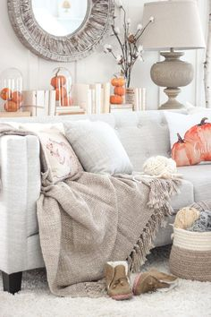 With soft colors and pumpkin accents, the space is perfect for fall and Halloween.