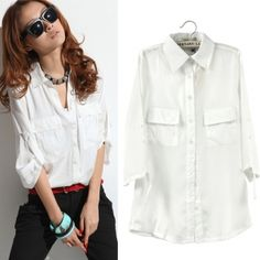 New Korean Women's Top Loose Casual Solid Color Pocket 3/4 Sleeve Blouse White Shirt