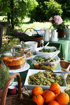 typical Italian brunch buffet: pasta salads, omelettes, mixed salads, fruit and cakes