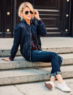 Caro Daur + fresh + youthful + bomber jacket + plaid shirt + shearling jacket for fall + either sneakers + Caro + block ankle boots + add + little drama.  Fall Outfits 2016 + Shirt: S Oliver Red Label + Jeans: S Oliver Red label + Jacket: S Oliver Red Label + Shoes: Superga + Sunglasses: Ray Ban