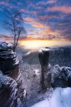 """Fresh snow by Jens Böhme* """"One of the rare winter mornings with snow and sun currently. Captured on climbing rock """"Wehlnadel"""" in Saxon Switzerland, Germany"""""""