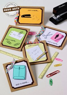 Just a note card - use the notebook edge SU punch with real paperclips.  Simple and cute!