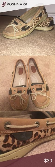 5674b04c8917 Sperry Boat Shoes Lace up sperrys with faux-hair cheetah print on the sides.