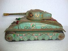 Vintage Rare M-4 U.S.Army Military War Tank Litho Print Tin Toy, Made in Japan
