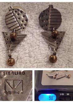 THOMAS MANN Design Sterling Silver Mixed Metal Steam Punk Earrings New Orleans #TOMMANN #TechnoRomantic