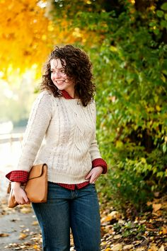 Plaid Shirt layered with sweater for fall