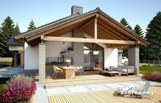 Rustic House Plans, A Frame House, Backyard, Patio, Best House Plans, Garage House, My Dream Home, Interior Architecture, Sweet Home