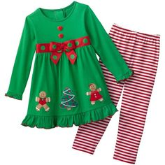 Sophie Rose Christmas Tree Dress and Leggings Set - Toddler ($15) ❤ liked on Polyvore