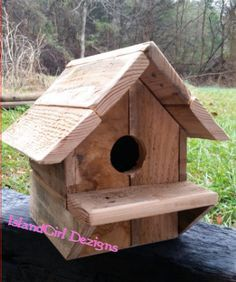 Rustic Reclaimed Wood Birdhouse - Gift for Him - Pallet Wood- Bird House - Weathered - Recycled - Handmade - Country Chic- Barnwood- Outdoor - pinned by pin4etsy.com