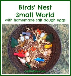 This birds' nest small world was a really fun nature activity. We even made some salt dough birds eggs to go in the nest! Animal Activities For Kids, Spring Activities, Nature Activities, Bible Activities, Sensory Activities, Outdoor Activities, Small World Play, Bird Theme, Easter Art