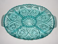 EAPC EARLY AMERICAN PRESCUT STAR OF DAVID TURQUOISE GLASS DIVIDED TRAY X RARE picclick.com