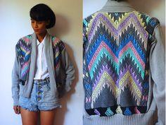 Vtg NeoPastel Tribal Knit Grey Open Sweater by LuluTresors on Etsy, $39.99