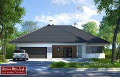 Projekt domu Kaprys IV , wizualizacja 1 Bungalow House Plans, House Entrance, Cabin Homes, Home Fashion, Ground Floor, Sweet Home, Garage Doors, Outdoor Structures, House Design