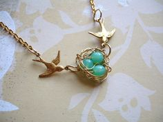 Sale Swallow Green Opal Birds Nest Necklace Bridesmaid  Mothers Day. $25.00, via Etsy.