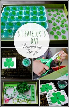 St. Patrick's Day Preschool Learning Trays | Alphabet practice, numbers, counting, fine motor practice, cutting and scissor practice. | from iheartcraftythings.com