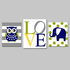 Baby Boy Nursery Art Trio Striped Owl LOVE Typography by Tessyla