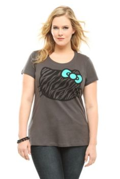 Doe - Hello Kitty Charcoal Zebra Head Tee