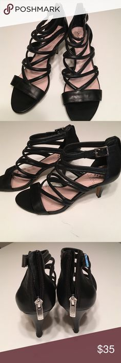 """Vince Camuto Black Strappy Heels •leather heels •zip up in back •3"""" heel height •silver buckles w adjustable ankle strap Vince Camuto Shoes Heels"""