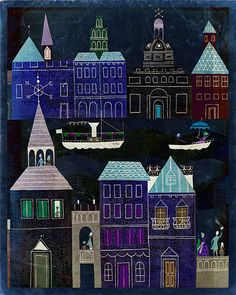 "Vintage Fairy Tale Illustration ""Dark City"" European Travel - City at Night Art Print - Vibrant Bright Color"