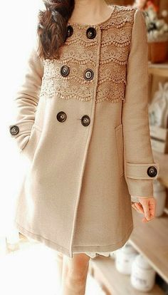 Big Button Lace Blazer. If I ever move back to a cold climate, I'd love to make something like this. So pretty yet so practical