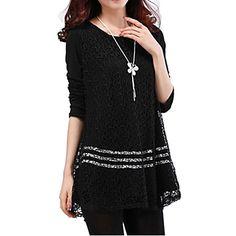 Women's+Solid+White/Black+Blouse,+Plus+Sizes+Round+Neck+Long+Sleeve+Lace+Crochet+–+USD+$+13.99