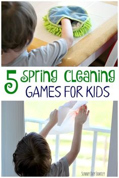 Make Spring cleaning fun with these 5 cleaning games for kids! Kids love to help clean the house, especially when you make cleaning a game. A super fun way to teach kids how to clean! Chores For Kids, Fun Activities For Kids, Infant Activities, Games For Kids, Fun Games, Children Chores, Spring Activities, Cleaning Games, Cleaning Tips