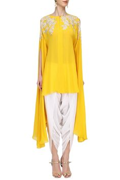 MEGHA & JIGAR Mustard Embroidered Tunic with Off White Dhoti Pants. Shop Now! #meghaandjigar #ethnic #mustard #offwhite #embroidered #tunic #dhotipants #indianfashion #indiandesigners #perniaspopupshop #happyshopping