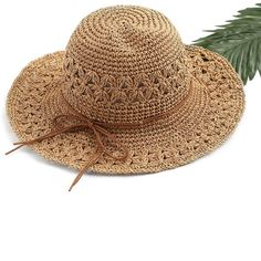 Bow Tie Straw Beach Hat ($12) ❤ liked on Polyvore featuring accessories, hats, brown hat, straw sun hat, straw hats, straw beach hat and brown sun hat