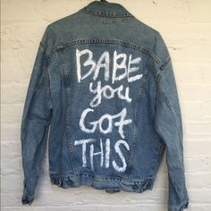"""Hand painted vintage GUESS denim jacket Pre-owned vintage GUESS denim jacket with hand painted """"Babe You Got This"""" quote. Size medium. Signs of wear on the crease of the collar around the neckline. Acid wash denim. ONE OF A KIND VINTAGE Guess Jackets & Coats Jean Jackets"""