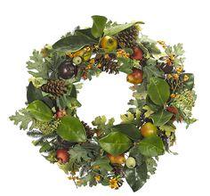 """Magnolia Pinecone Pomegranate Wreath (GW04): Magnolia Pinecone Pomegranate, Burgundy Green, Wreath, 28"""""""