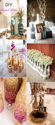 DIY painted bottles wedding centerpieces with flowers and wheat for rustic weddings