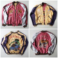 Japanese VINTAGE TAILOR TOYO Pink Cute Tiger Tora HOTROD Car Chevy Lover Embroidered Sukajan Skajan Jacket - Japan Lover Me Store