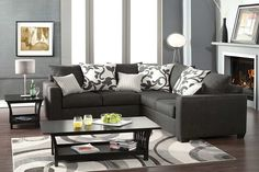 Modern Charcoal Fabric Sectional Sofa Corner Couch Pillow Back Living contemporary-sectional-sofas Sofa Furniture, Online Furniture, Living Room Furniture, Living Room Decor, Condo Living, Living Rooms, Apartment Living, Furniture Sets, Usa Living