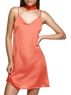 ebeb15ffabb36 V Neck Pure Color Loose Cami Dress For Women Mini Slip Dress, Best Jewelry  Stores