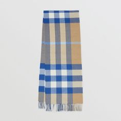 Check Cashmere Scarf in Arc Beige/inky Blue Burberry Gifts, Cashmere Scarf, Womens Scarves, Free Gifts, Colours, Beige, Women's Flats, Collection