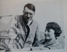 """Very rare 1930 photo of Hitler with Geli Raubal. Henry Picker captioned this photo in his book, """"Hitler gives his pretty niece her first auto lesson."""" One wonders how Hitler could give instruction on driving to anyone, since he didn't drive himself."""