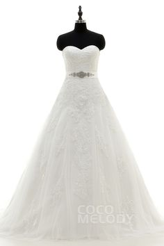Hot+Sale+A-Line+Sweetheart+Train+Tulle+Ivory+Zipper+With+Button+Wedding+Dress+with+Beading+and+Appliques+LD3813