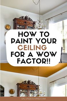 Ceilings can be considered the 5th wall. They can make a huge impact to your room when painted, especially a statement color, like GOLD! See the before and after pictures of this beautiful space. #salvagedliving #paintedceiling #goldpaintedceiling Painting Tips, House Painting, Gold Ceiling, English Decor, Best Paint Colors, Vintage Chandelier, Diy Projects, Project Ideas